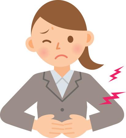 abdominal pain: businesswoman having stomachache Illustration