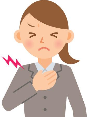 zakenvrouw met pijn op de borst