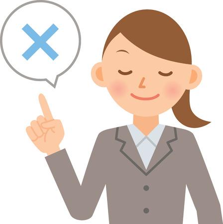 zakenvrouw zeggen dat de letter X Stock Illustratie
