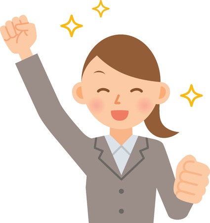 businesswoman cheering Illustration
