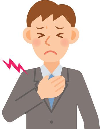 chest pain: A vector illustration of businessman Illustration