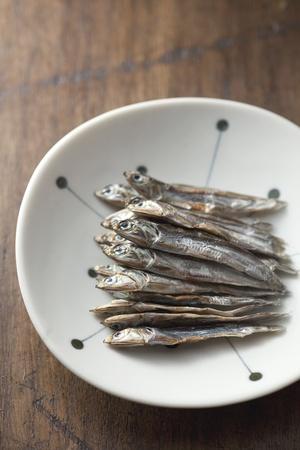 small dried sardines on the japanese dish Stock Photo