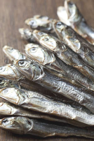 small dried sardines close up