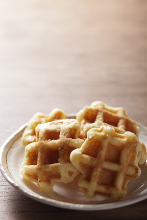 waffles on the wood table Stock Photo