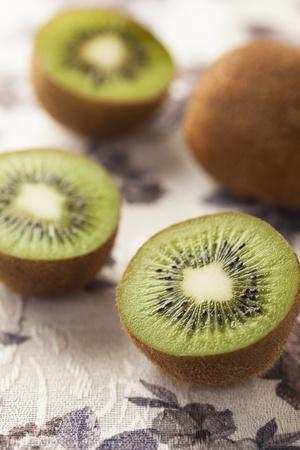 sliced kiwifruits on the table