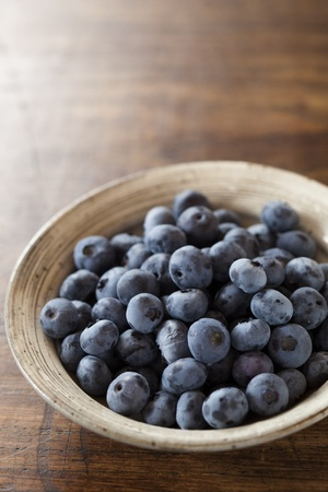 blueberries on the wood table Stock Photo