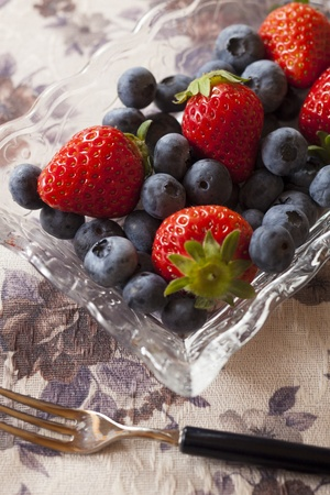 strawberries and blueberries on the cloth Stock Photo