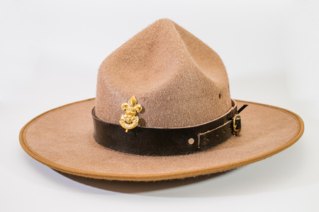 stockman: brown brim hat hat of scout on white
