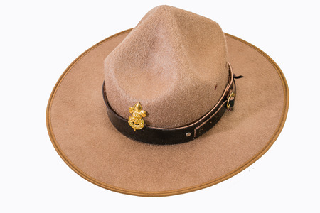 brim: brown brim hat hat of scout on white