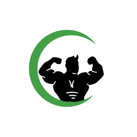 vector man objects for sports labels and gym logos