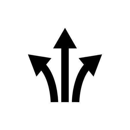 three way direction arrow sign.icon vector graphic design illustration