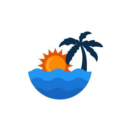 beach and sun vector graphic design illustration template