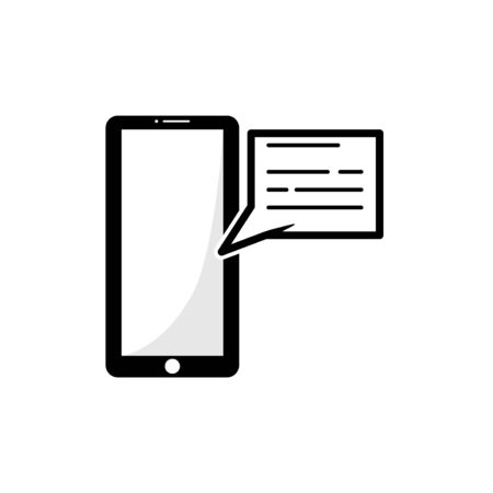 message in a smartphone vector graphic design illustration