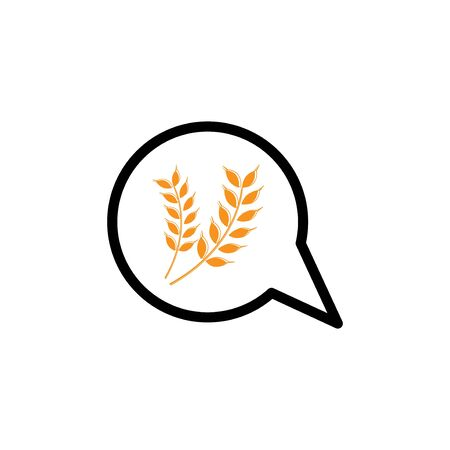 bubble chat wheat vector design template illustration