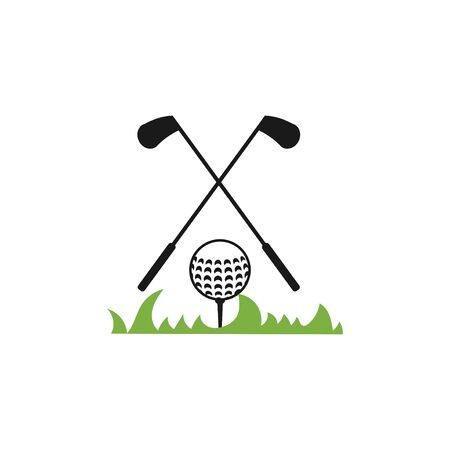 golf balls and clubs vector design template illustration