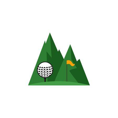 Golf course landscape vector design template illustration Illustration