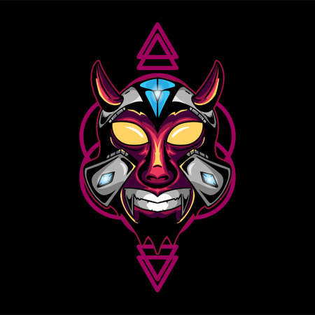 Horned skull with diamond geometric shape background vector graphic design illustration