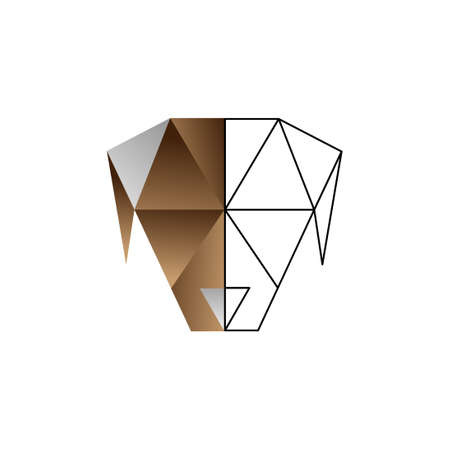 origami dog color line vector design template illustration Vettoriali