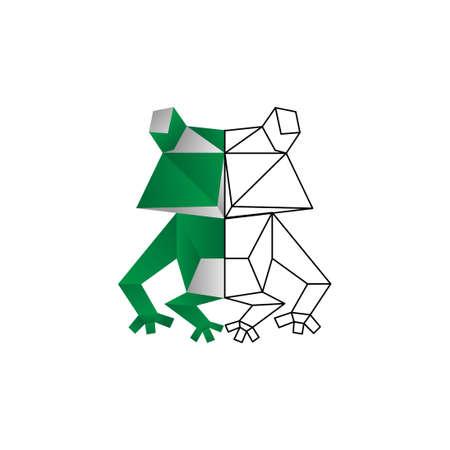 origami frog color line vector design template illustration