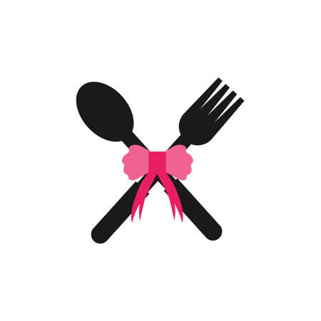 fork and spoon with tie vector design illustration