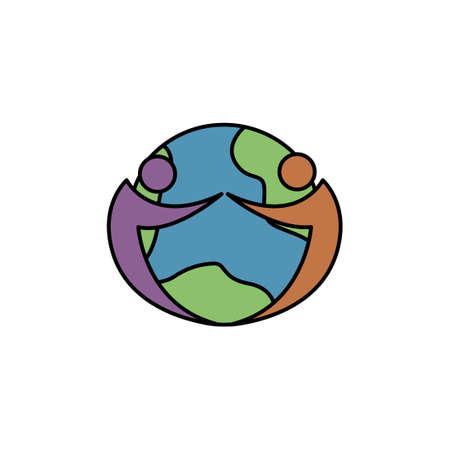 world friend vector icon logo design template illustration