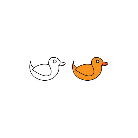 duck toy for children icon design template isolated