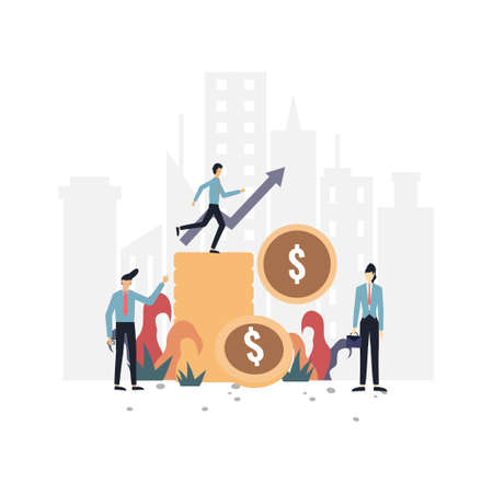 Income increases flat illustration.Vector design template.Suitable for landing page, ui, website, mobile app, editorial, poster, flyer, article, and banner.