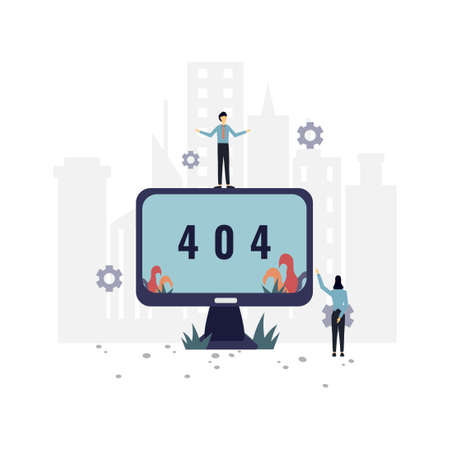 404 not found flat illustration.Vector design template.Suitable for landing page, ui, website, mobile app, editorial, poster, flyer, article, and banner.