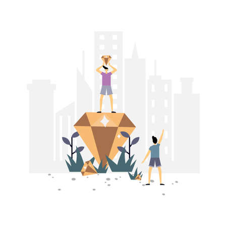 Get diamonds flat illustration.Vector design template.Suitable for landing page, ui, website, mobile app, editorial, poster, flyer, article, and banner.