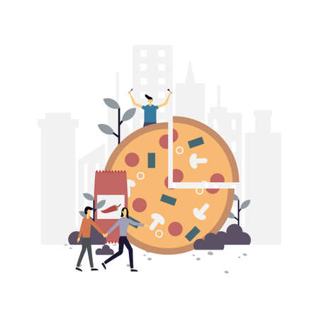 Pizza flat illustration.Vector design.Suitable for landing page, ui, website, mobile app, editorial, poster, flyer, article, and banner.