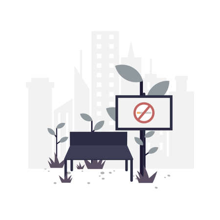 No smoking flat illustration.Vector design.Suitable for landing page, ui, website, mobile app, editorial, poster, flyer, article, and banner.