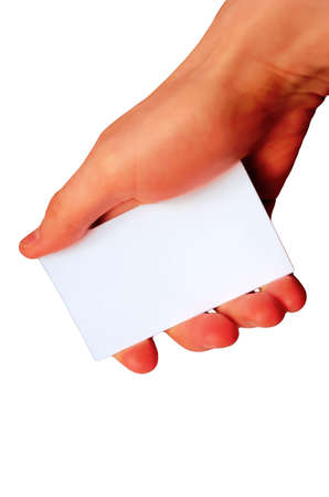 hand with empty name card