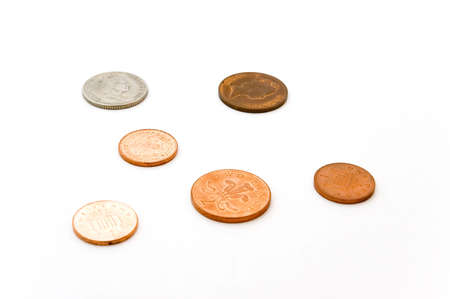 isolated english coins
