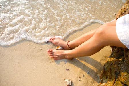 pepples: girl on beach Stock Photo