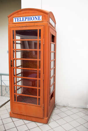 old style english telephone booth photo