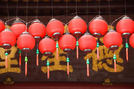 red temple lanterns