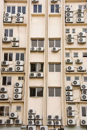 building full of aircon units