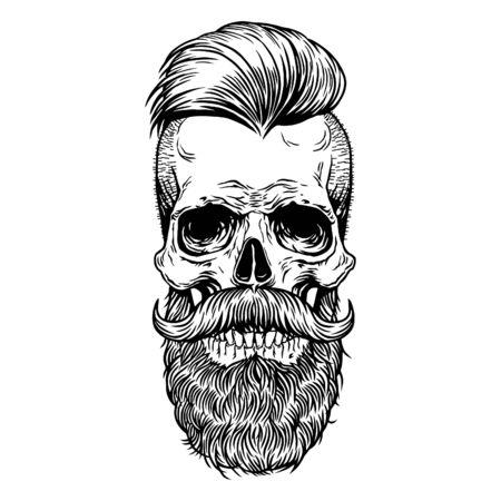 Skull tattoo mustache beard Hipster Vector Hand drawn line art design print shirt, poster, textiles,