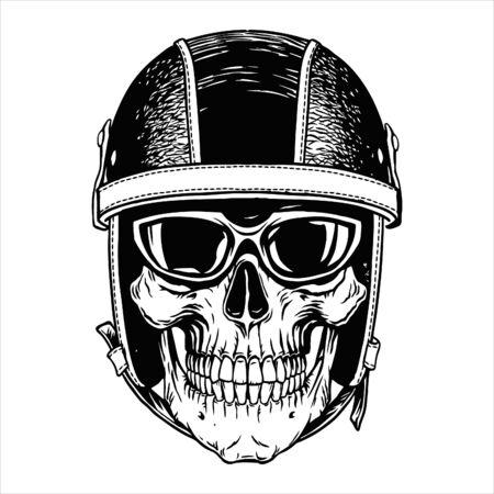 Motorcycle biker skull head helmet moto tattoonemblem,