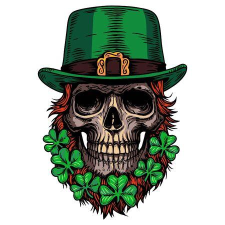 saint patrick day Holiday Irish celtic Leprechaun skull clover