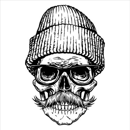 Chapeau de lunettes de moustache de crâne Conception de tatouage noir Dessiné à la main