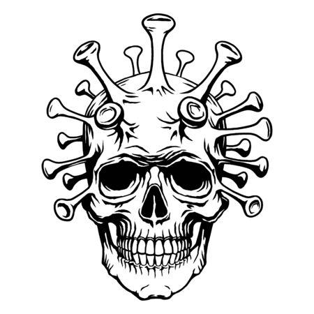 Skull face mutant biohazard with coronavirus. Vector illustration quarantine 2019-nCoV virus. Concept for print poster shirt, desing tattoo Stock Vector - 144574255