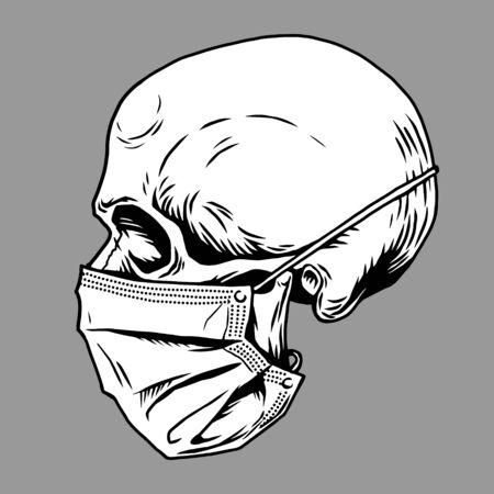 Skull face in medical face mask. Infectious disease, flu protection, avoiding virus. Corona virus quarantine 2019-nCoV. Concept for print poster shirt, desing tattoo, sigh. Vector illustration.