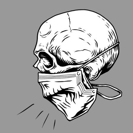 Skull face in medical face mask. Infectious disease, flu protection, avoiding virus. Corona virus quarantine 2019-nCoV. Concept for print poster shirt, desing tattoo, sigh. Vector illustration. Stock Vector - 145089371