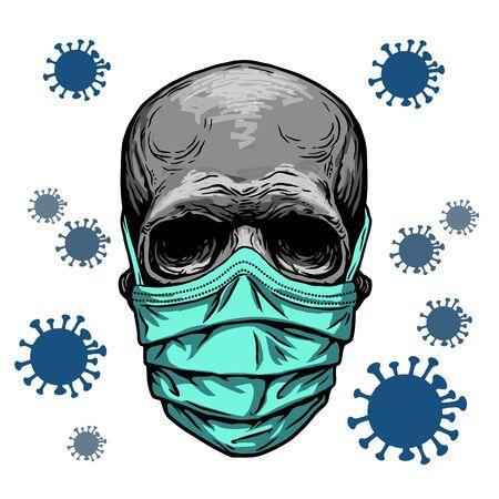 Skull in medical face mask. Infectious disease, flu protection, avoiding virus. Corona virus quarantine 2019-nCoV. Concept desing for print poster, shirt, desing tattoo, sigh. Vector illustration.
