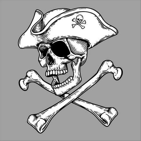 Jolly Roger Pirate skull head in hat and crossed bones symbol. Illustration