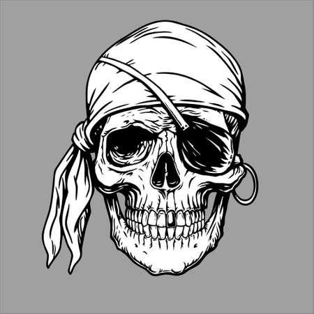 Pirate skull head in bandana.