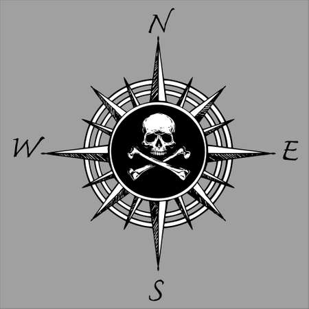 Compass rose and piracy skull head Illusztráció