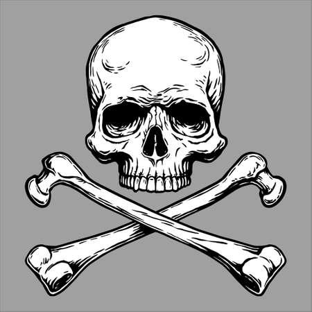 Jolly Roger Pirate skull head and crossed bones symbol.