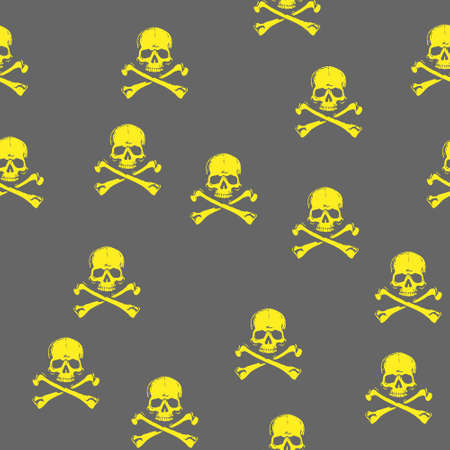 Skull Head Jolly Roger Pirate crossbones Seamless repeat pattern.